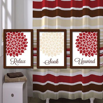 red and tan shower curtain. Bathroom Wall Art Artwork Canvas Relax Soak Unwind Red Beige Ivory Brown  Dahlia Flower Set of