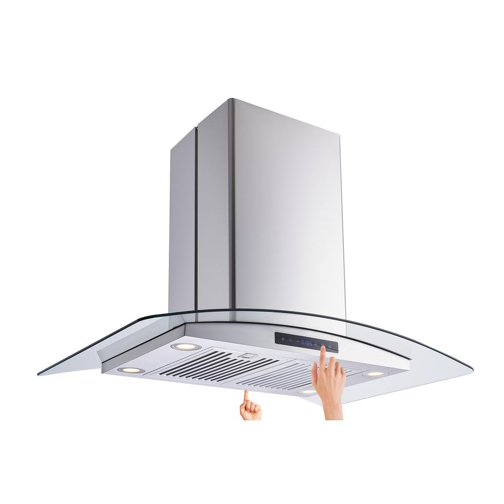 Vissani 36 In W Convertible Glass Island Mount Range Hood With Dual Sided Touch Panels And Charcoal Filters In Stainless Steel 668i Cs53 The Home Depot Range Hood Charcoal Filter Kitchen Island Range
