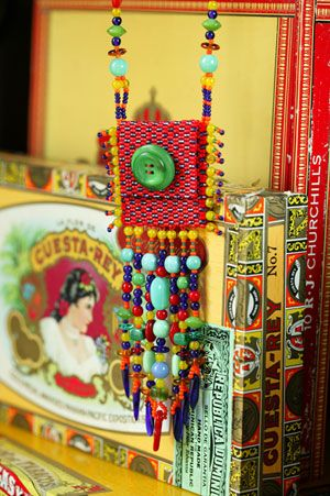 Amulet bag necklace (I like the beadwork!), by Anna Macedo, from Beautiful Button Jewelry by Susan Davis