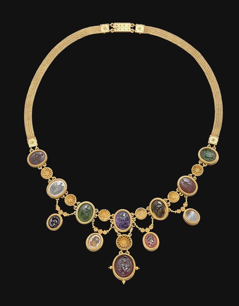 Gold necklace of 12 Roman ringstones, c.1st century BC-2nd century AD