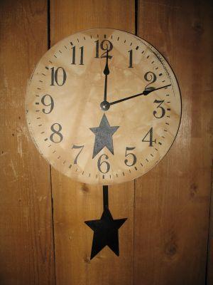 Star Clock With Pendulum Black Clock Pendulum Primitive Decorating Country Primitive Decorating Primative Decor