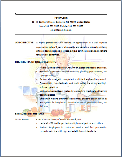 Bartender Resume Example | Chef Resume - Sample Job Resume Layout