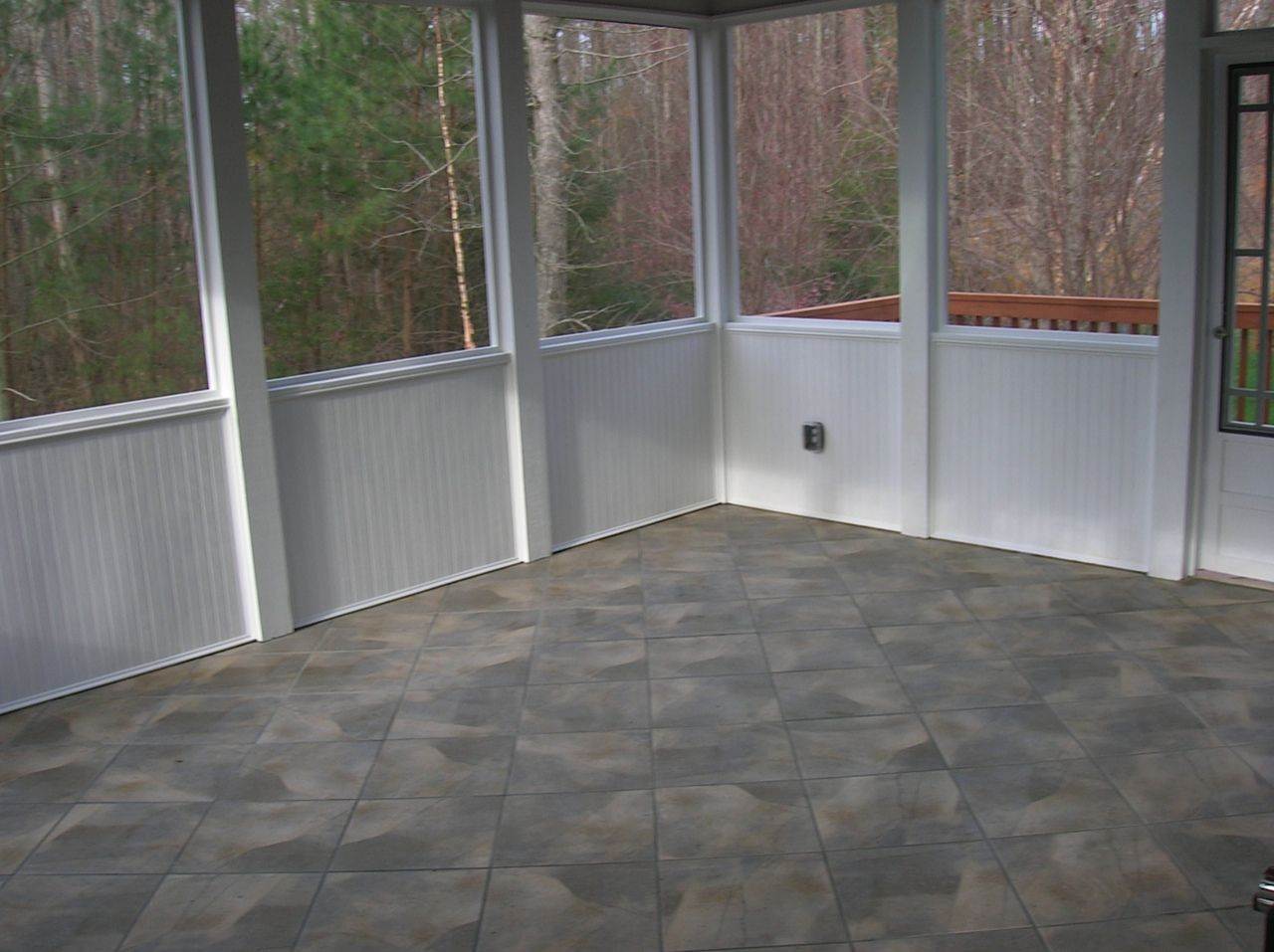 tile floor porches bead board Deck Building & Screen