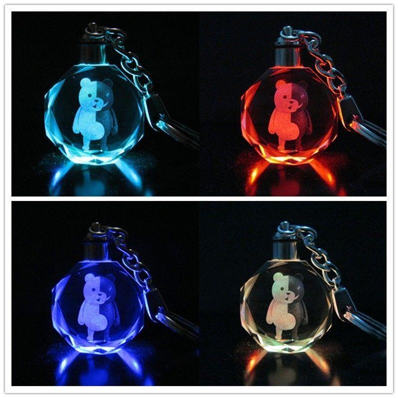 Danganronpa Mono Kuma Dangan Ronpa Black&White Bear Crystal LED Light Keychain