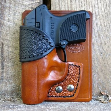 Combo Pocket Holster for Ruger LCP in Light Brown Cowhide with Black