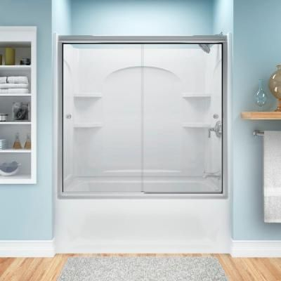 STERLING Ensemble 33 1/4 In. X 60 In. X 55 1/4 In. 3 Piece Direct To Stud  Shower Wall Set In White