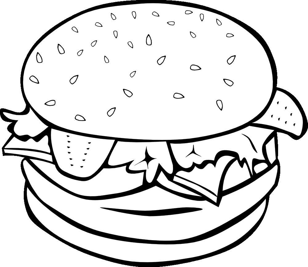 Hamburger Clipart Black And White Clipart Black And White Hamburger And Fries Food Coloring Pages