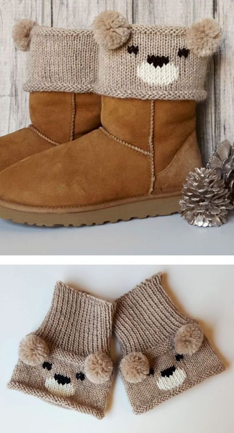 Free knitting pattern for teddy bear boot toppers a colorwork free knitting pattern for teddy bear boot toppers a colorwork bear face and pom pom ears create an adorable boot cuff designed by alexandra david dt1010fo