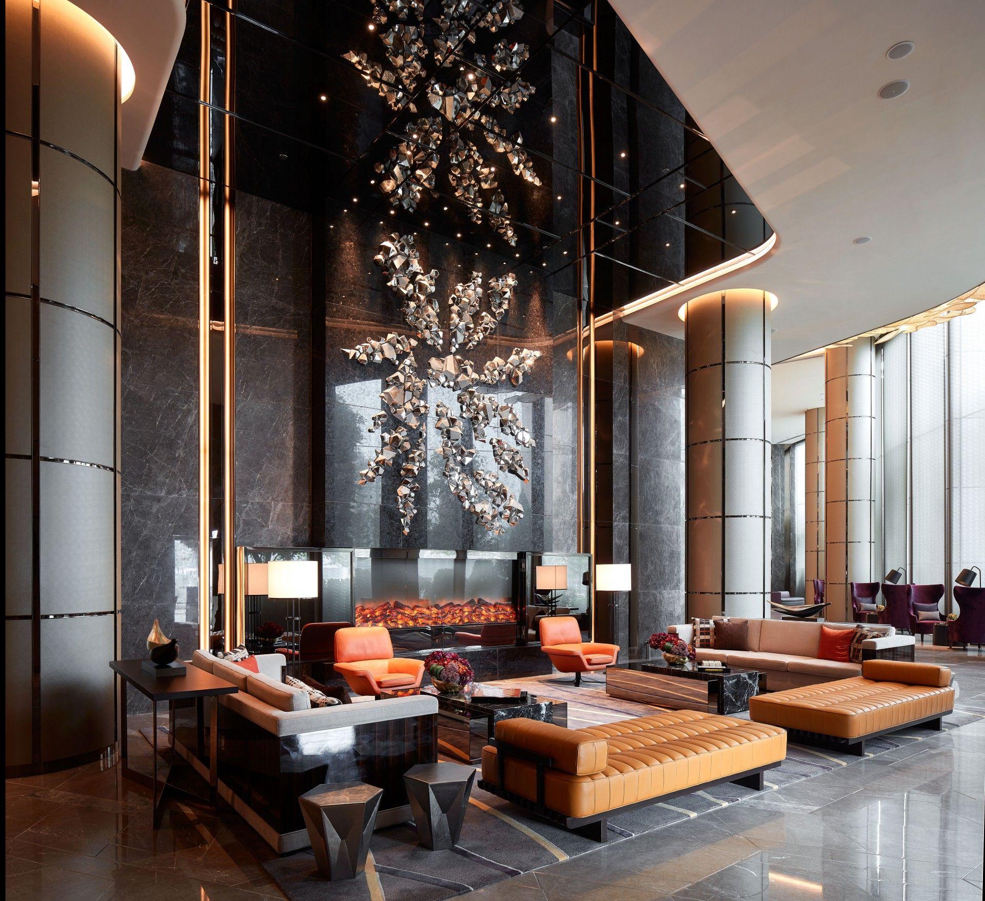 Lobby Inspirations Ultima Residential Project By Hba Los Angeles Lobby Interior Design Lobby Design Hotel Lobby Design