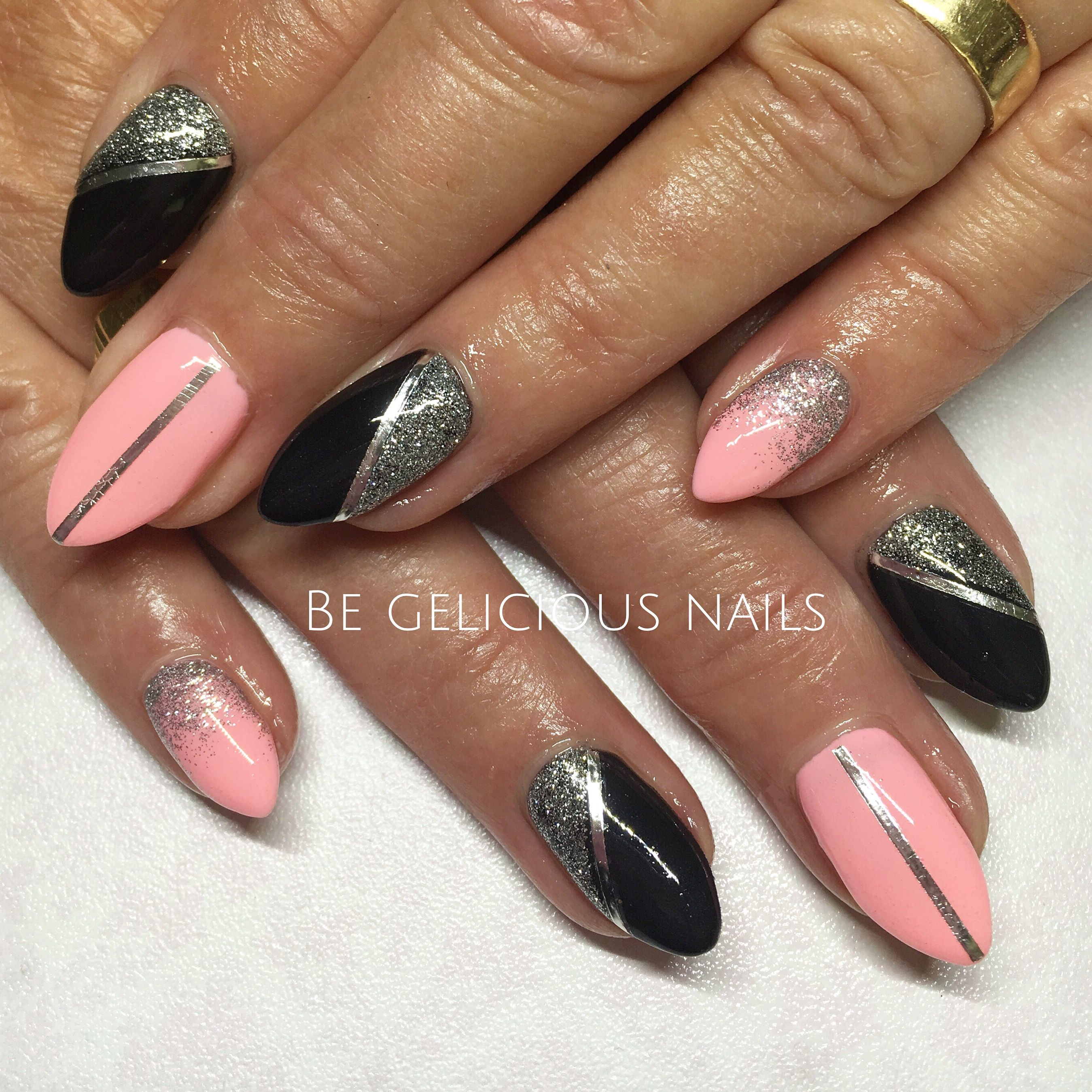 Calgel Nails Nail Art Nail Design Gel Pink Black Calgel