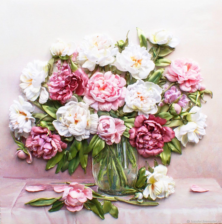 Купить Картина лентами Пионы в стеклянной вазе 40 х 40 см ...