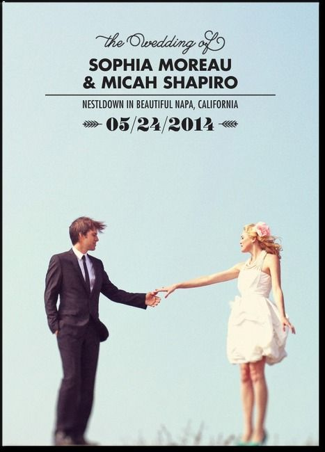 A photo wedding program with modern fonts and a customized template.