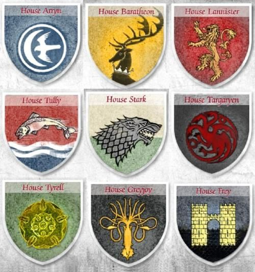 Game of Thrones Coats of Arms So addicted Game of
