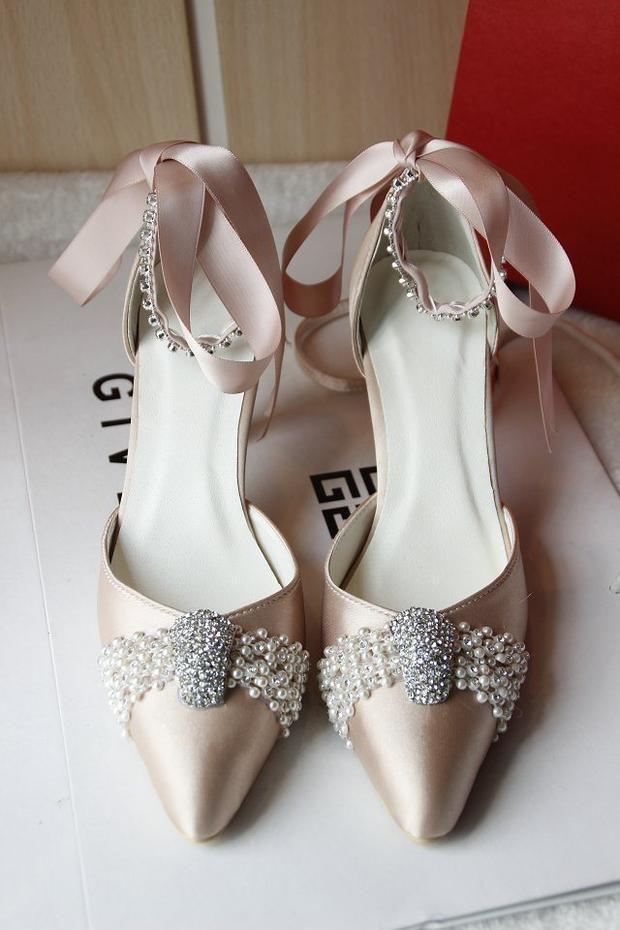 Pearl Wedding Shoes For Bride Champagne White Crystal High Heels Rhinestone Ribbon Vintage Princess Bridal Evening