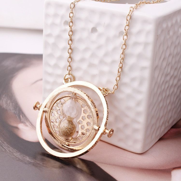 New Vintage Unisex Collar Harry Potter Rotating Time Turner Necklace Hourglass Pendent