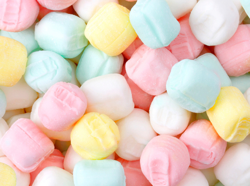 Pastel colored little hard candies.