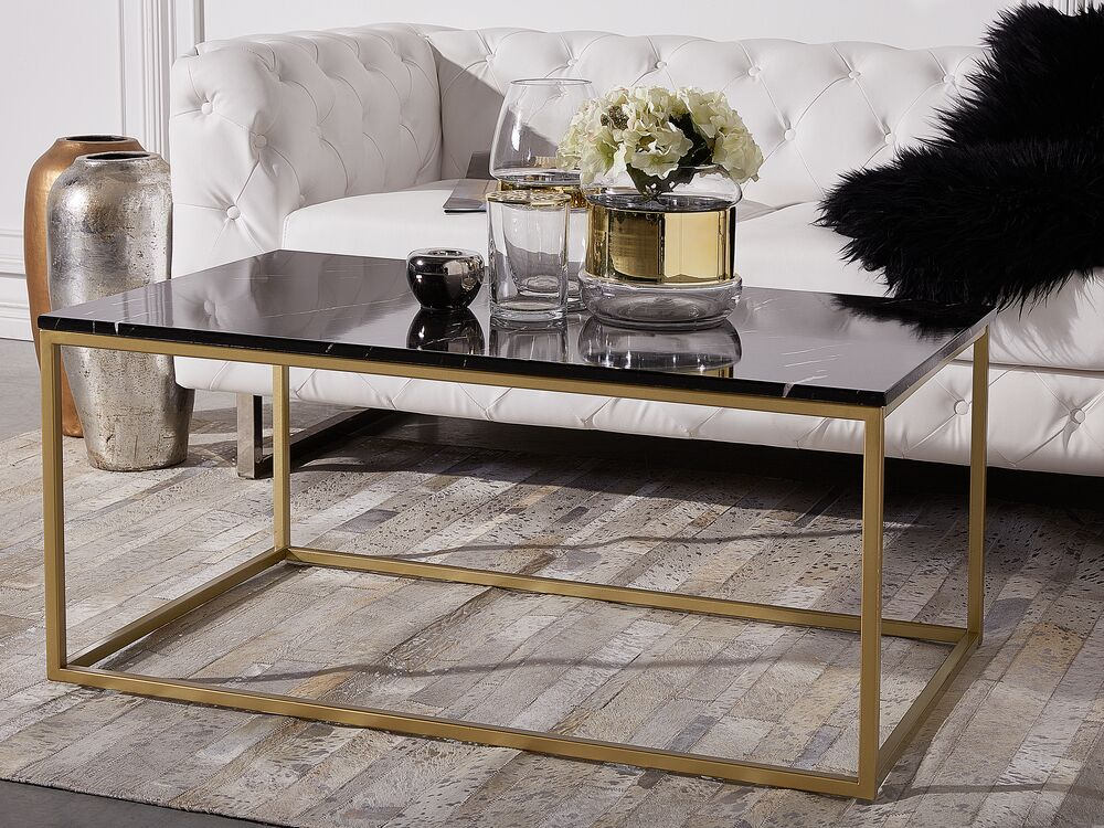 Coffee Table Black Marble Effect With Gold Delano