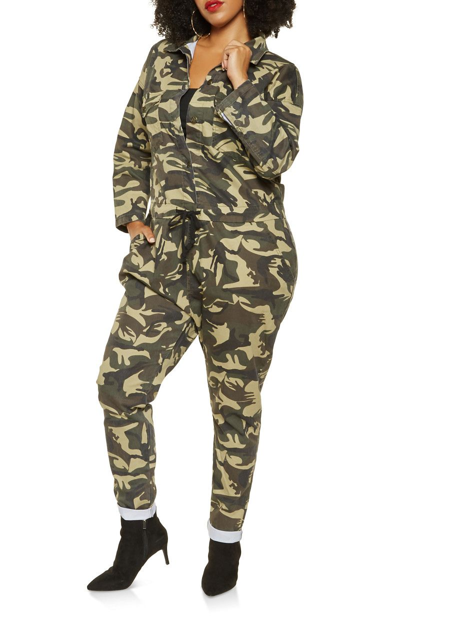 c915e2560889 Plus Size Oversized Camo Denim Jumpsuit - Green - Size | Products ...