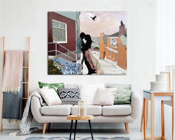 Kissing Couple Romantic Painting, Romantic Wall Decor ...