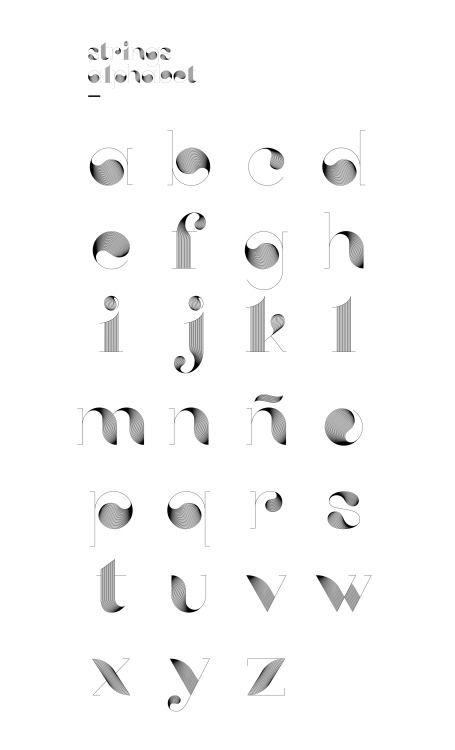 Fancy alphabet designed by Diego Pinilla based on curly strings and thin strokes.