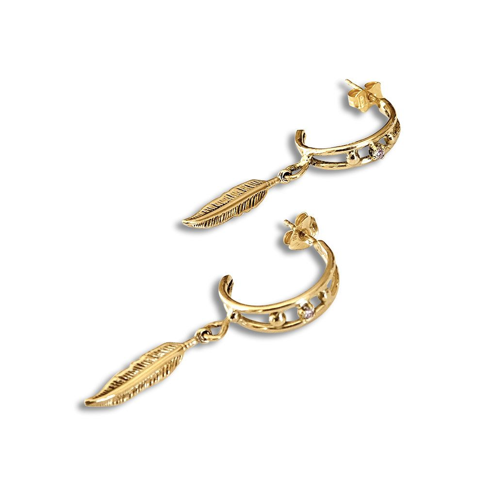 14k Gold Feather Hoop Earrings Solid Gold Hoops 14k Feather Earrings 14k Gold Earrings Diamond Earrings Diamond Hoops 14k Gold Earring Feather Earrings Gold Feathers