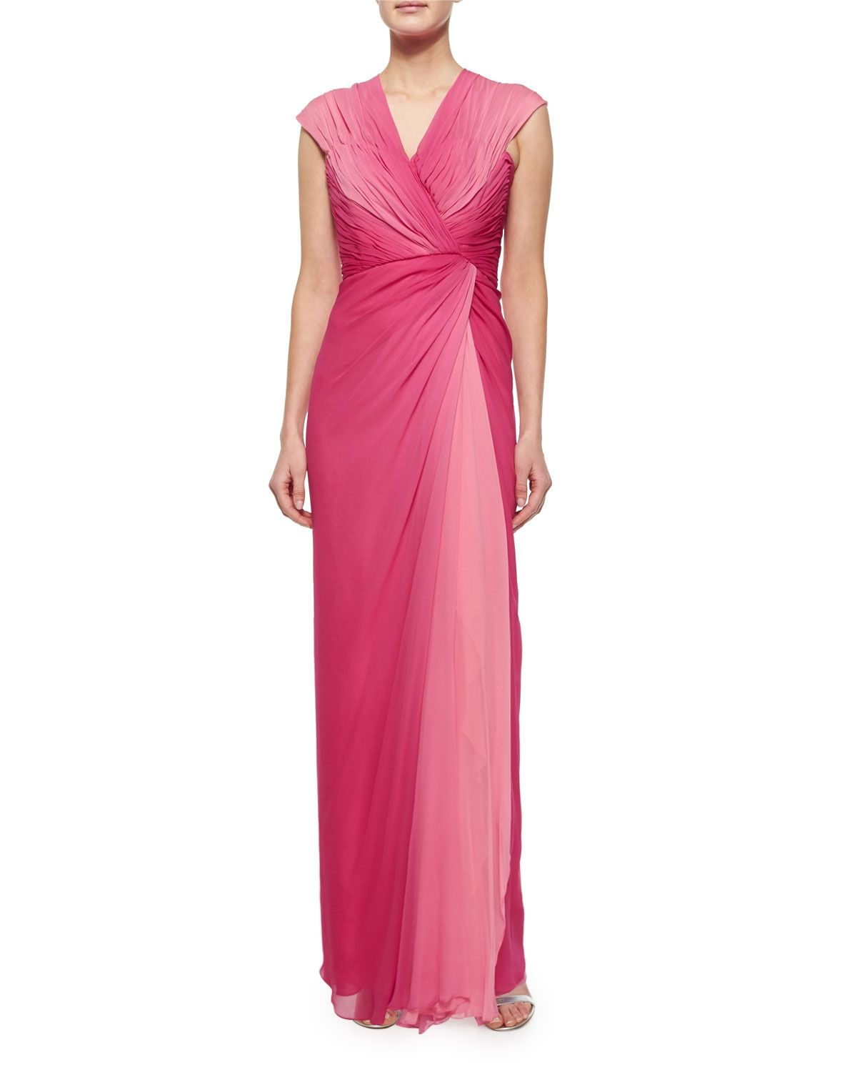 Cap-Sleeve Ruched Ombre Gown, Rose, Size: 16, pink - Melinda Eng ...