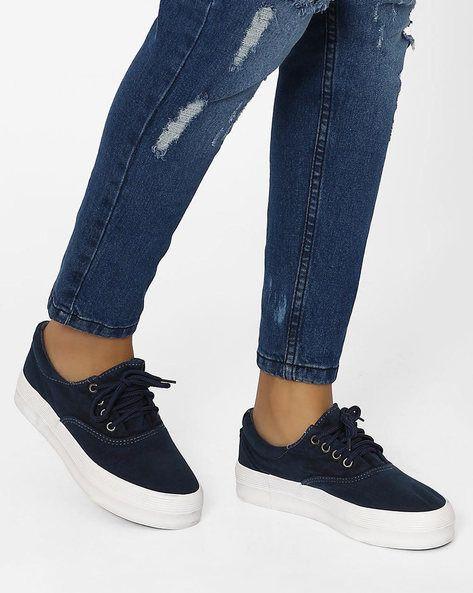 Buy MFT Couture Women Navy Blue Lace-Up Platform Sneakers | AJIO