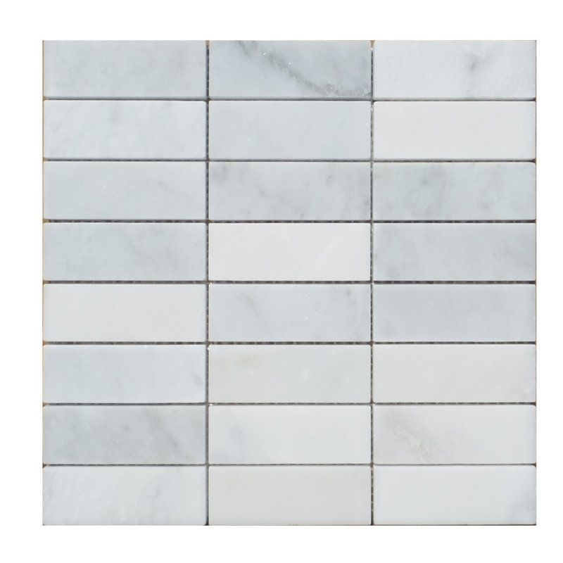 Stacked 1 X 2 Marble Mosaic Tile With Images Marble Mosaic Tiles Marble Mosaic Stone Mosaic Tile