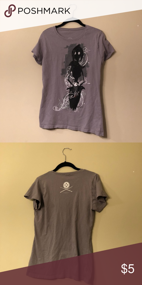 Coraline Shirt Gray T Shirt With Coraline Henry Selick Mother On Front Coraline Shirt Nwot Hot Topic Small Gray Shirt With Grey Shirt Shirts Shirts Grey