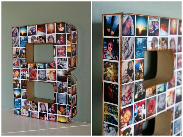 this would be a really cool gift concept for the next big anniversary for mom and dadeither a 40 or a b j diy photo collage wall initial
