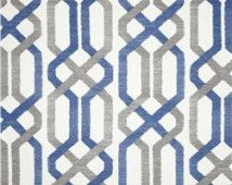 Blue, Grey and Ivory Geometric Curtain Panels / Custom Drapery in P Kaufmann Fabric