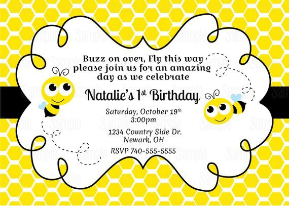 Printable Bumble Bee Invitation