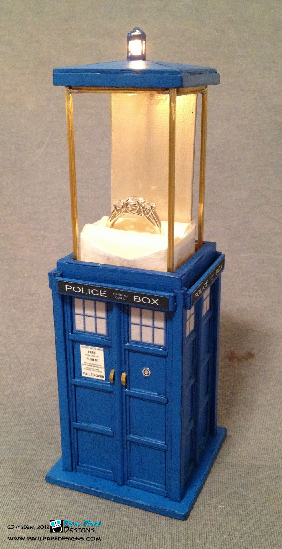 Doctor Who TARDIS Engagement Ring Box   Unique Way To Say Will You Marry Me  To