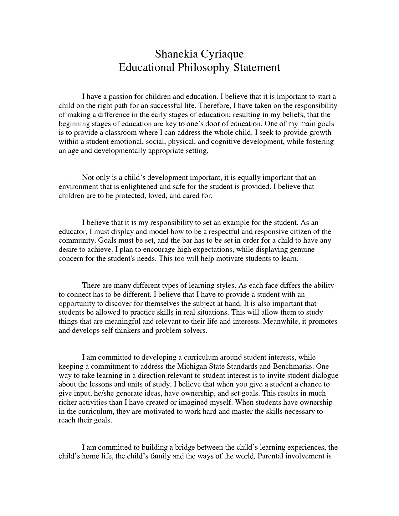 Educational Philosophy Statement Samples CDA