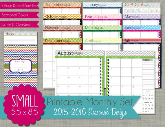 2015-2016 Printable Monthly Planner by PolkaDotPosiePrint on Etsy - printable monthly planner