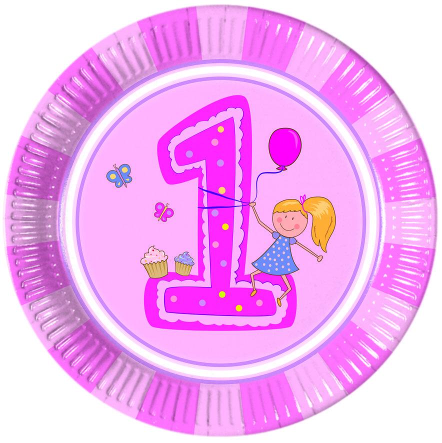 1-vuotisjuhlat tyttö; lautanen suuri