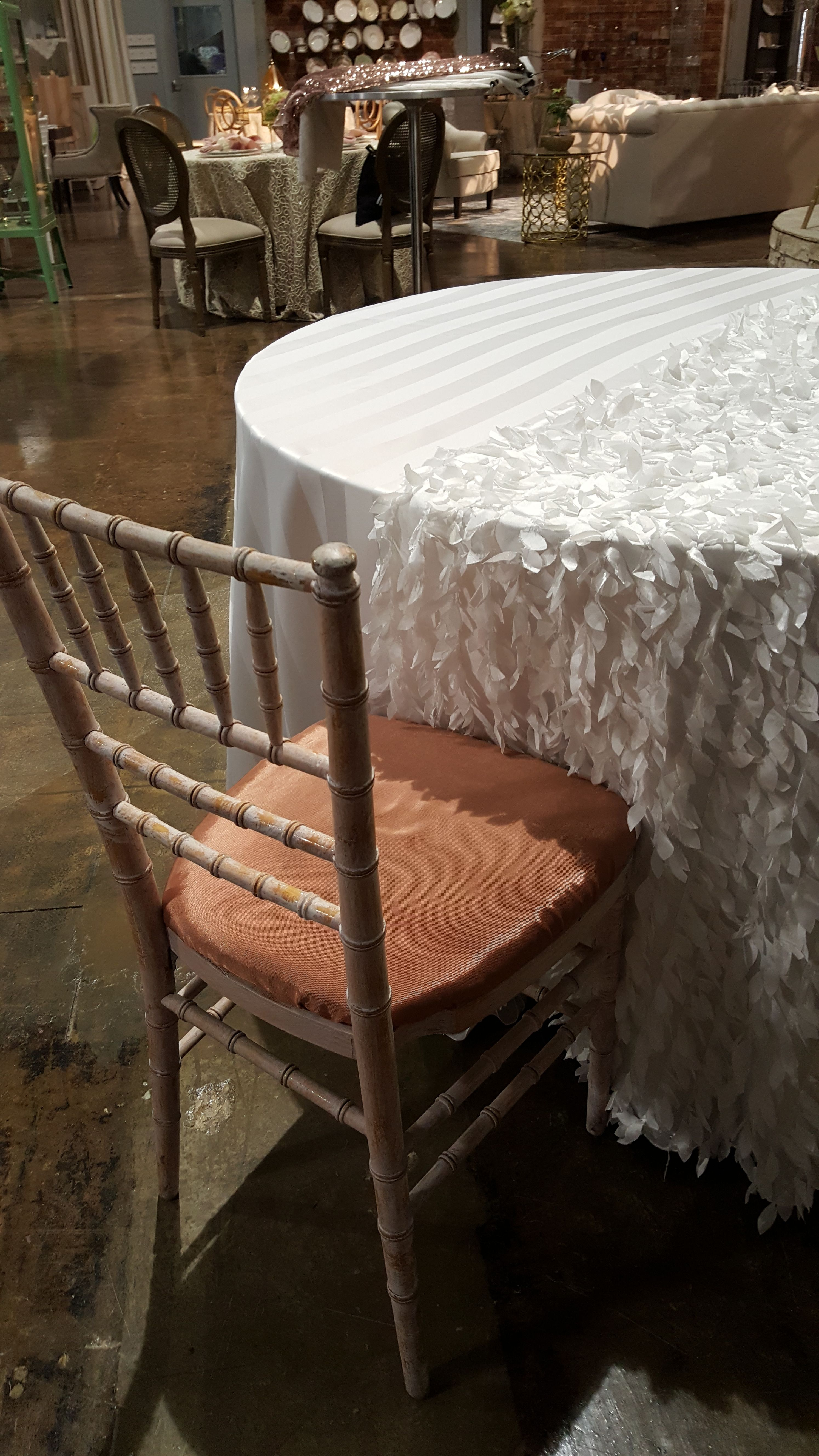 Select Rentals Whitewash Chiavari Chair With Rosegold Cushion For Cocktail Hour Low Tables 3 Per Tab Rental Decorating Wedding Rentals Decor Chiavari Chairs