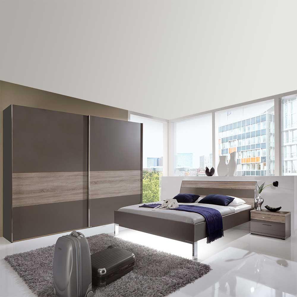 Schlafzimmermöbel Set in Braun Eiche Trüffel komplett (4