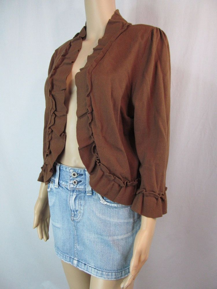 Details about INC Womens Size XL Brown Ruffle Open Mid Sleeve ...