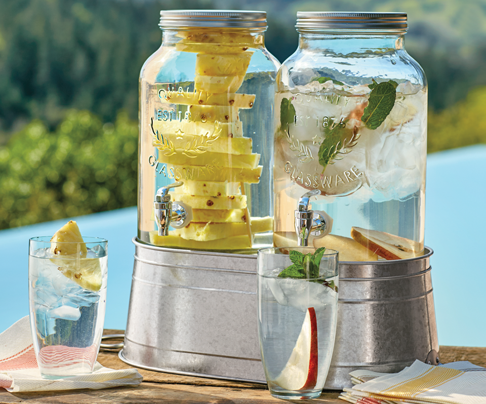 This Double Mason Jar Drink Dispenser Includes A Galvanized Stand Which Converts Into A Metal Ice Bucket Drink Dispenser Mason Jar Drink Dispenser Drink Stand