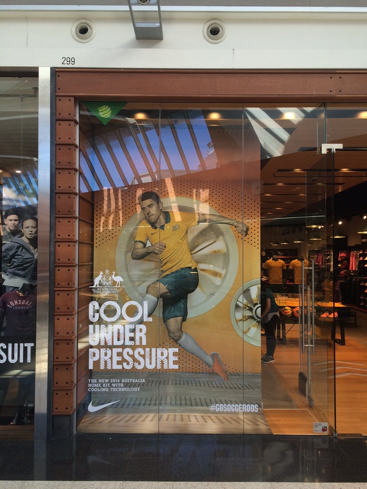 Nike Football retail window display Socceroos display.