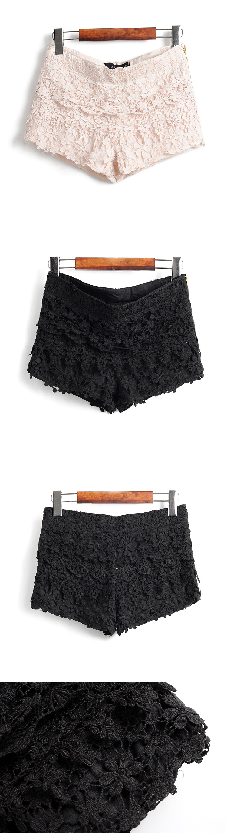 #Udobuy  Layers Of Lace Lace Shorts Beige$42