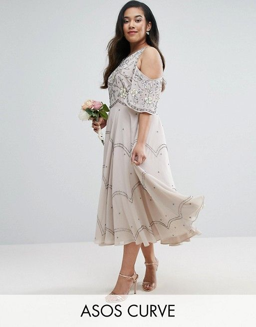 CURVE WEDDING Embellished Floral Cold Shoulder Midi Dress