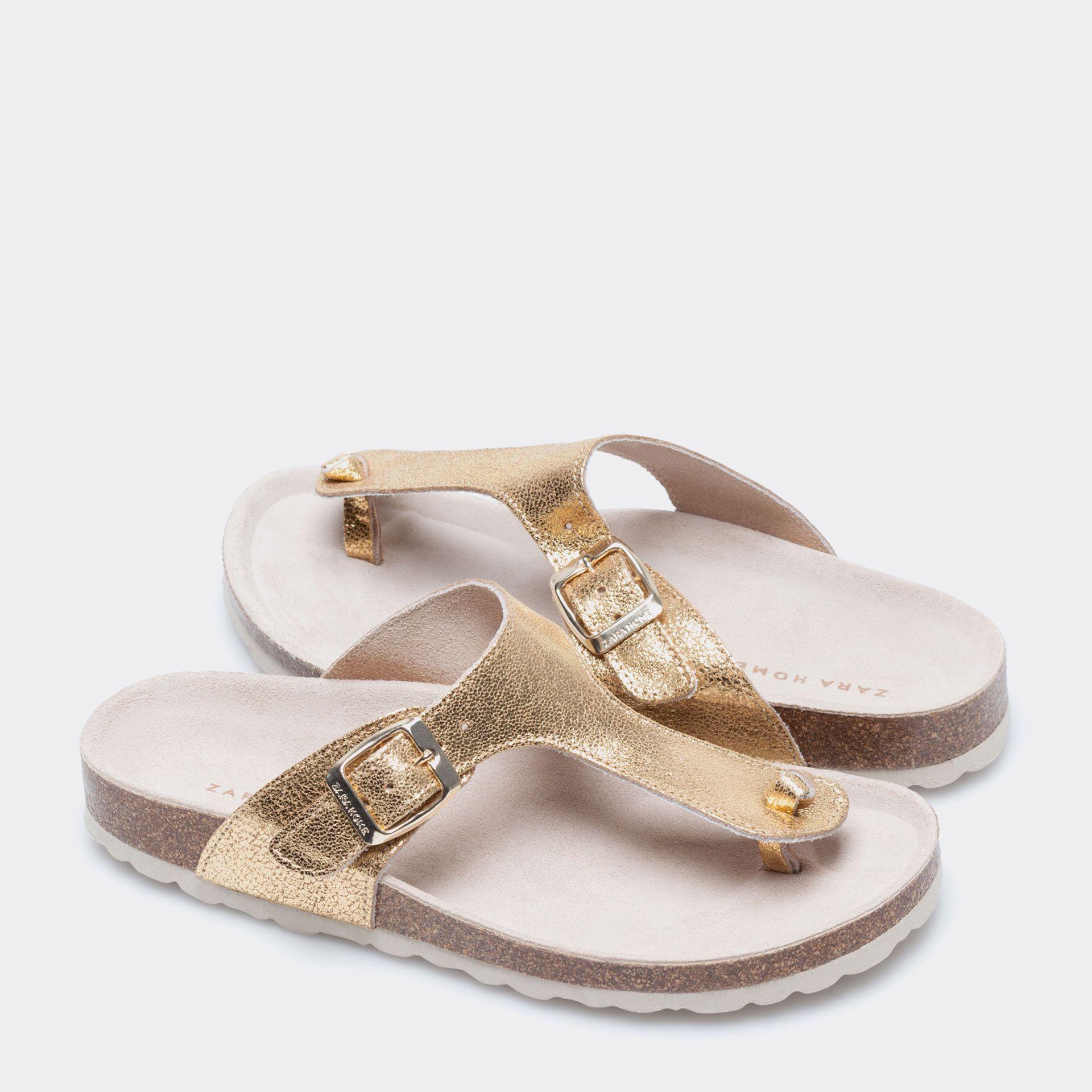 Sandalia piel dorada calzado mujer homewear shoes - Zara home online espana ...