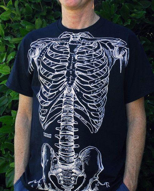 t-shirt rib cage bones bones human anatomy shirt cool | Clothing ...