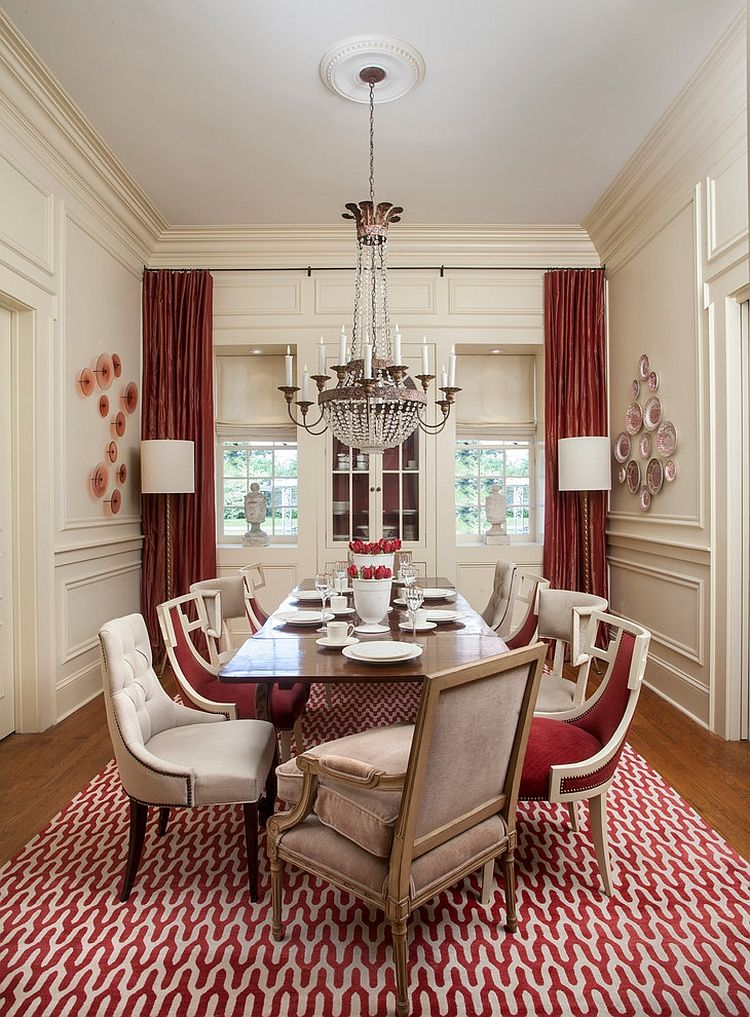 Superieur Dining Room : Red Moroccan Rug With Gold Metal Chandelier Light .
