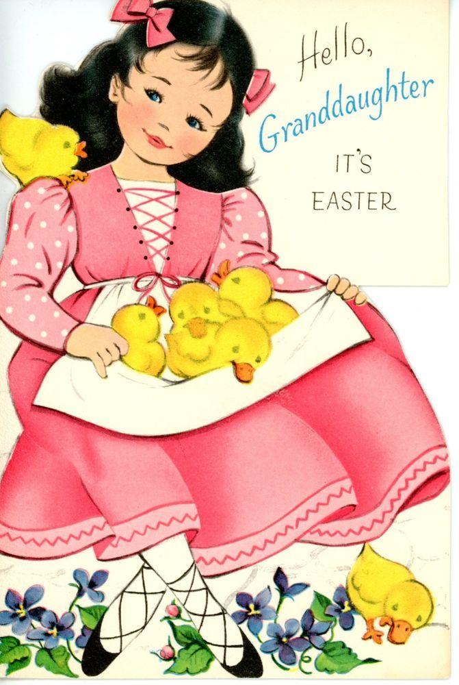 Vintage Norcross Die Cut Easter Greeting Card Girl Pink Felted Chicks 1828