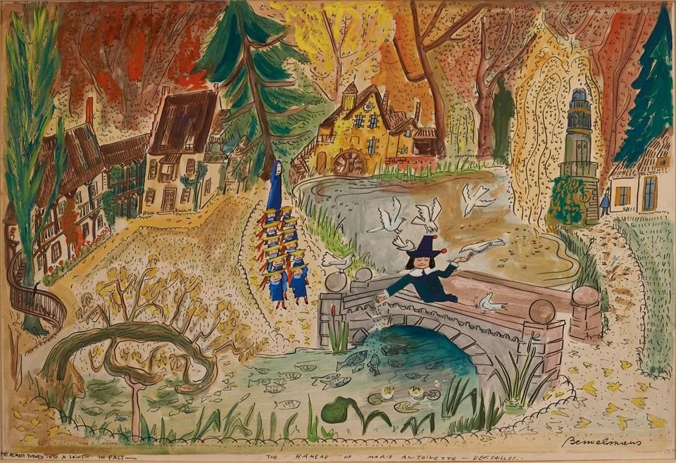 "A gouache painting by Ludwig Bemelmans for ""Madeline and the Bad Hat."""