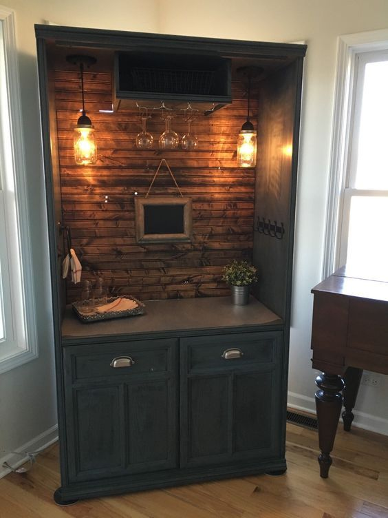 Sold Armoire Bar Cabinet Coffee Bar Station Bar Repurposed Armiore Wine Bar Furniture Makeover Home Armoire Bar