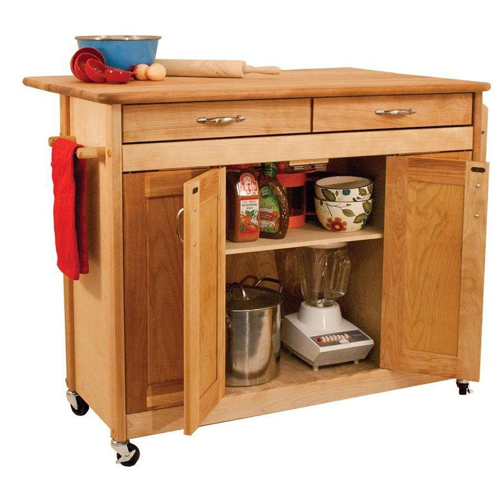 Catskill Craftsmen Natural Kitchen Cart With Butcher Block Top 53228 The Home Depot Primitive Kitchen Butcher Block Island Kitchen Natural Wood Kitchen